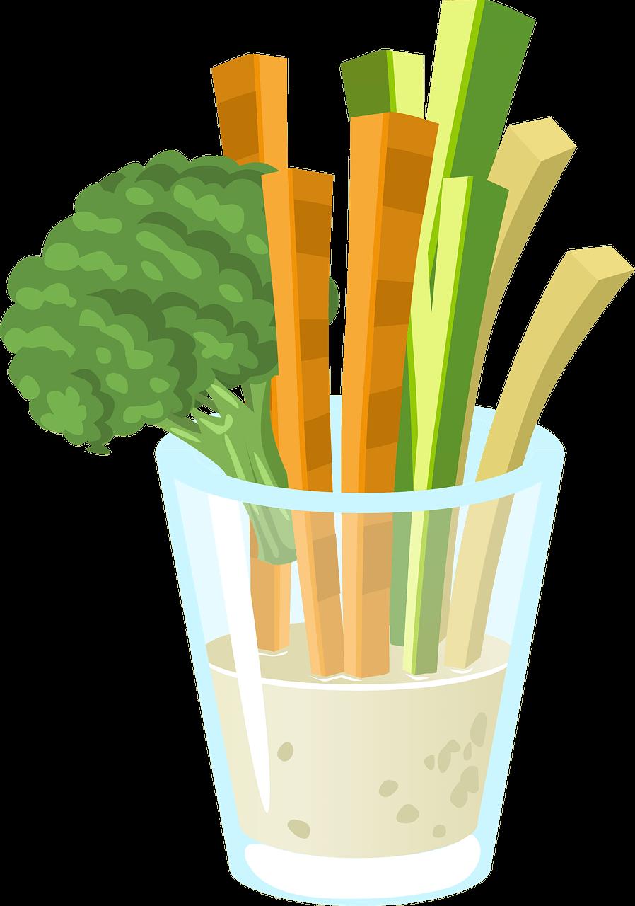 grafika wektorowa, słupki warzyw marchew, cukinia, seler, brokuł włożone do szklanki i soku z warzyw